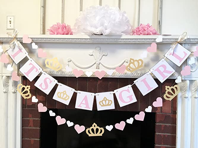 Princess Itu0027s A Girl Baby Shower Decorations   Pink And Gold Baby Shower  Garland   Its