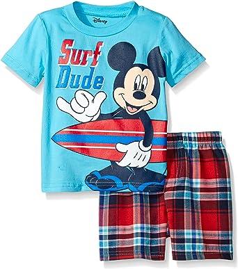 Disney Baby Boy 3-6 Month NWT Mickey Mouse 2 Piece Set Shirt Shorts Blue Plaid