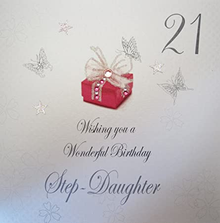 WHITE COTTON CARDS Bdp21 SD Red Present Wishing You A Wonderful Birthday Step