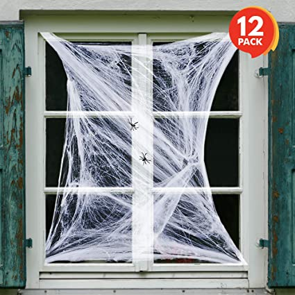 artcreativity spider web halloween decorations set of 12 super stretchy cobwebs with plastic