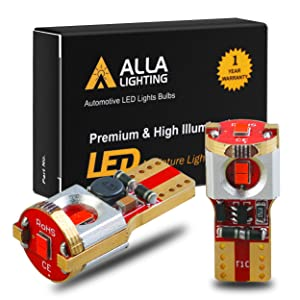 Alla Lighting Newest 194 LED Bulbs Super Bright T10 175 168 2825 W5W ZES SMD 12V LED Bulbs for Car License Plate Tag Interior Map Dome Trunk Courtesy Lights, Pure Red