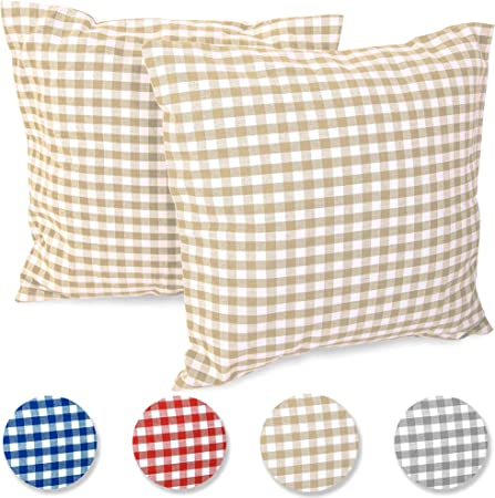 Federa per cuscino FILU 50x50 cm, confezione da 2 federe, (colori a scelta) bianco e beige a quadretti. Copricuscino, cuscino, fodera, federa, cuscino