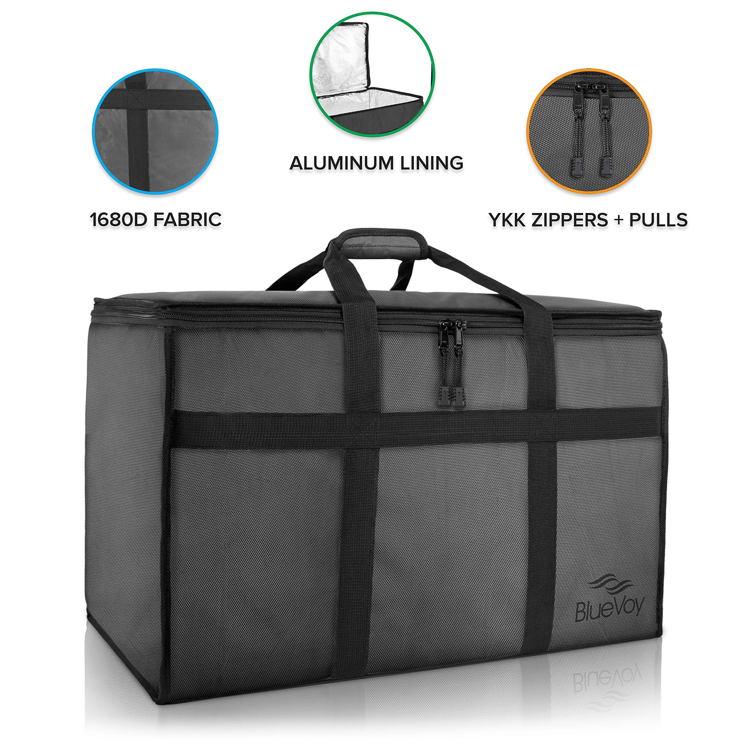 BlueVoy Insulated Food Delivery Bag - Premium Large Commercial Catering Bag for Food Transport - Hot and Cold Thermal Insulated Food Carrier with YKK No Snag Zippers - Ultra Durable Polyester Material by BlueVoy