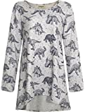 LaVieLente Ultra Soft Long Sleeve Jersey Knit top with hi-Low Design and Oversized fit in Dinosaur and Other Patterns