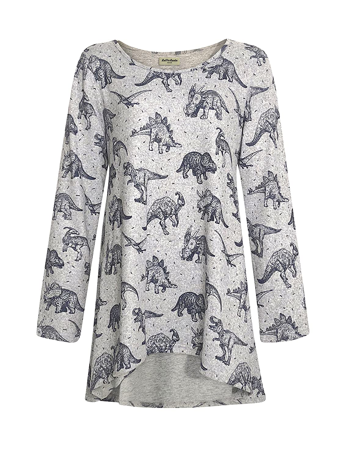 Dinosaur LaVieLente long sleeve jersey knit hilow top in bird and dinosaur print