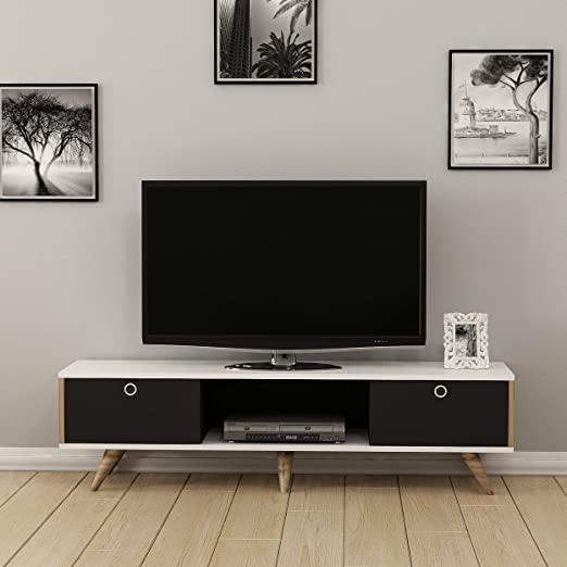Homemania - Mueble para TV Zeyn, Madera, Nogal-Negro/Blanco, 150 x ...