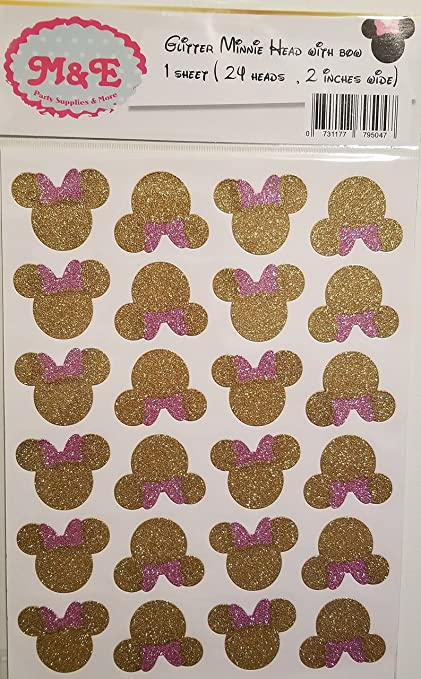 Amazon Com Glitter Gold Pink Minnie Head And Bow Stickers For