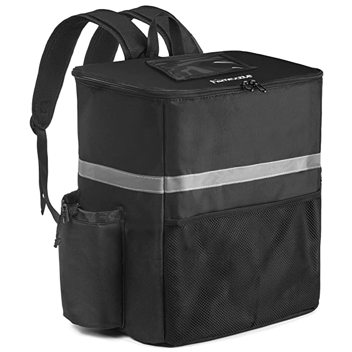 Homevative Thermal Insulated Food Delivery Backpack (14 x 10 x 16) Large, with Cup Holders, Mesh Pocket and Receipt Window, Reusable Bookbag for Doordash, Uber, Postmates, Camping, Beach, etc