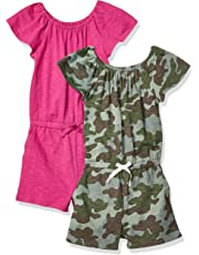 Spotted Zebra Girls' 2-pack Knit Ruffle Top Rompers