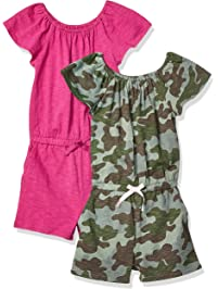 Spotted Zebra Amazon Brand Girls' Toddler & Kids 2-Pack Knit Ruffle Top Rompers