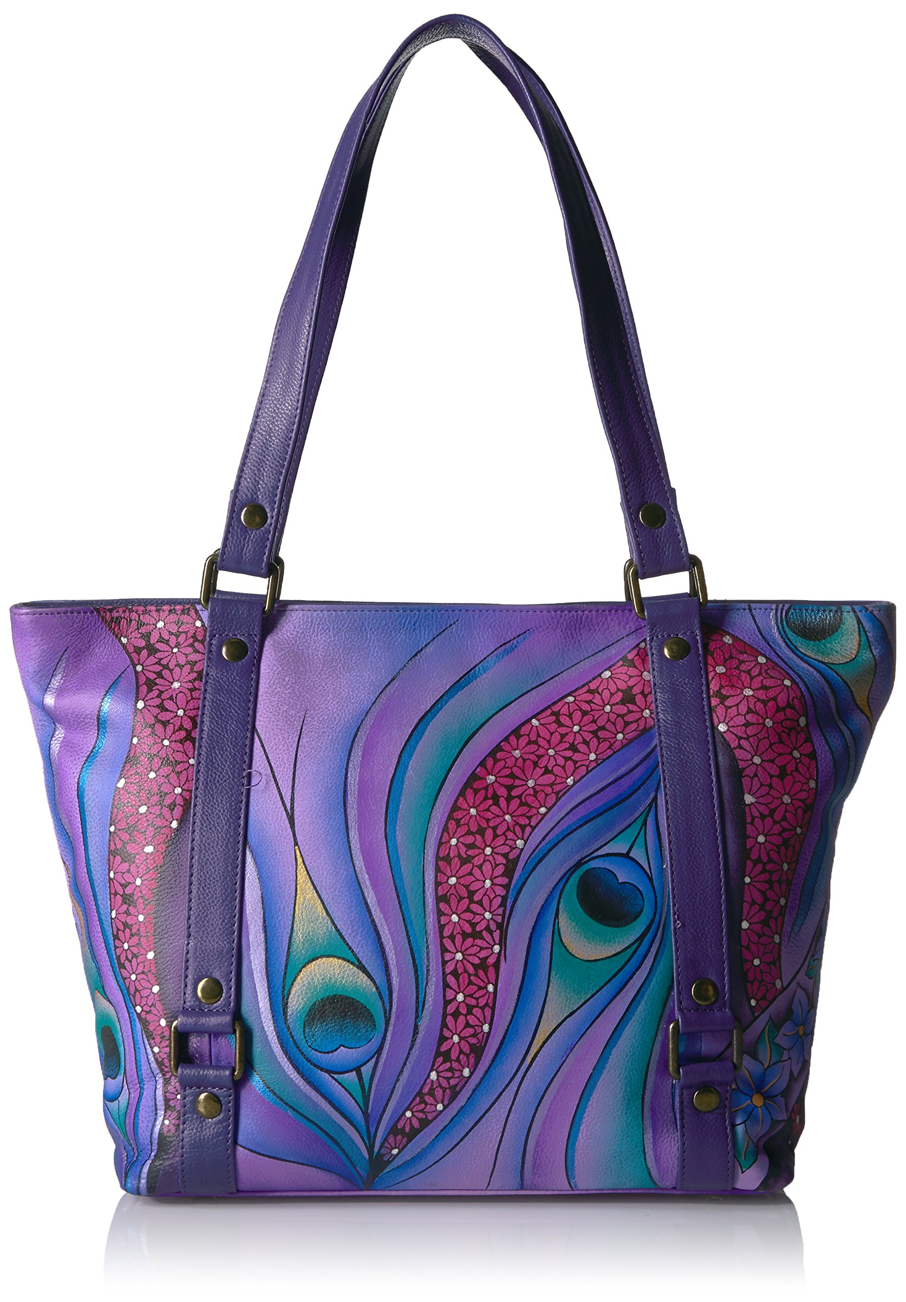 Anuschka Anna Handpainted Leather Classic Large Tote Dreamy Peacock Dewberry, Dpk-Dw-Dreamy Peacock Dewberry