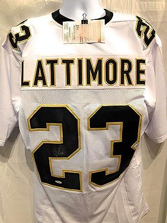 15777dc2 Marshon Lattimore New Orleans Saints Signed Autograph White Custom Jersey  JSA Witnessed Certified