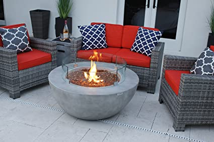 "AKOYA Outdoor Essentials 4 Piece 42"" Modern Fire Pit Table Bowl  w/Outdoor Patio - Amazon.com: AKOYA Outdoor Essentials 4 Piece 42"