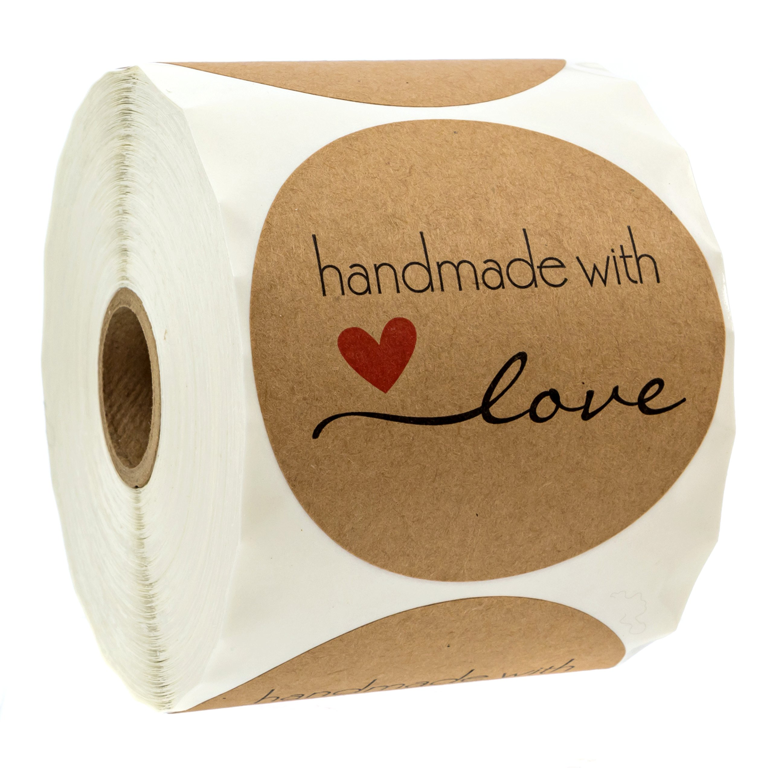 3'' inch Round Natural Kraft Handmade with Love Stickers / 500 Labels per roll