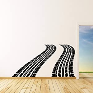 Wall Decals Tire Tracks Vinyl Wall Decal Auto Car Wheel Trace Removable Sticker Art Sports Race Decorations for Home Bedroom Garage Racing Decor Made in USA