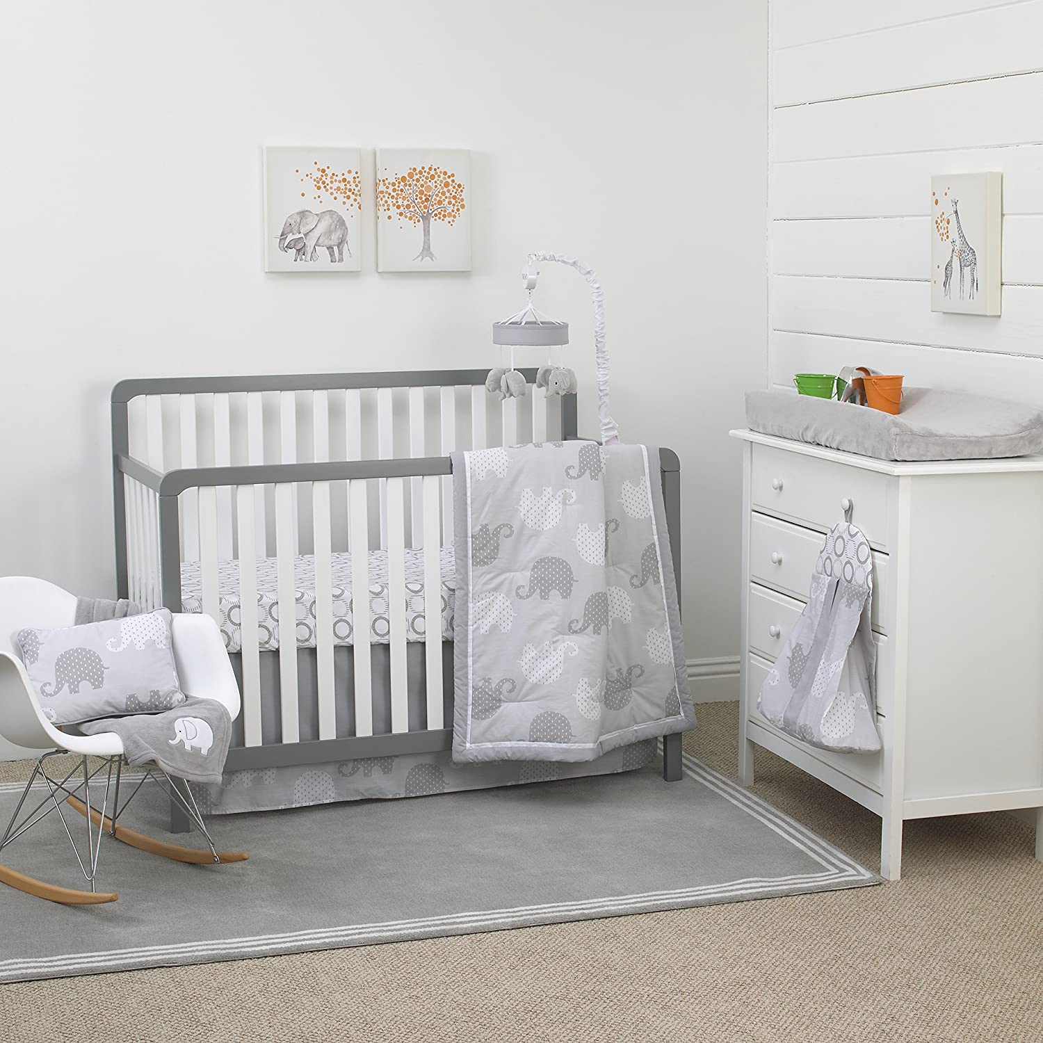 NoJo Elephant 8-Piece Nursery Crib Bedding Set, Grey/White/Charcoal