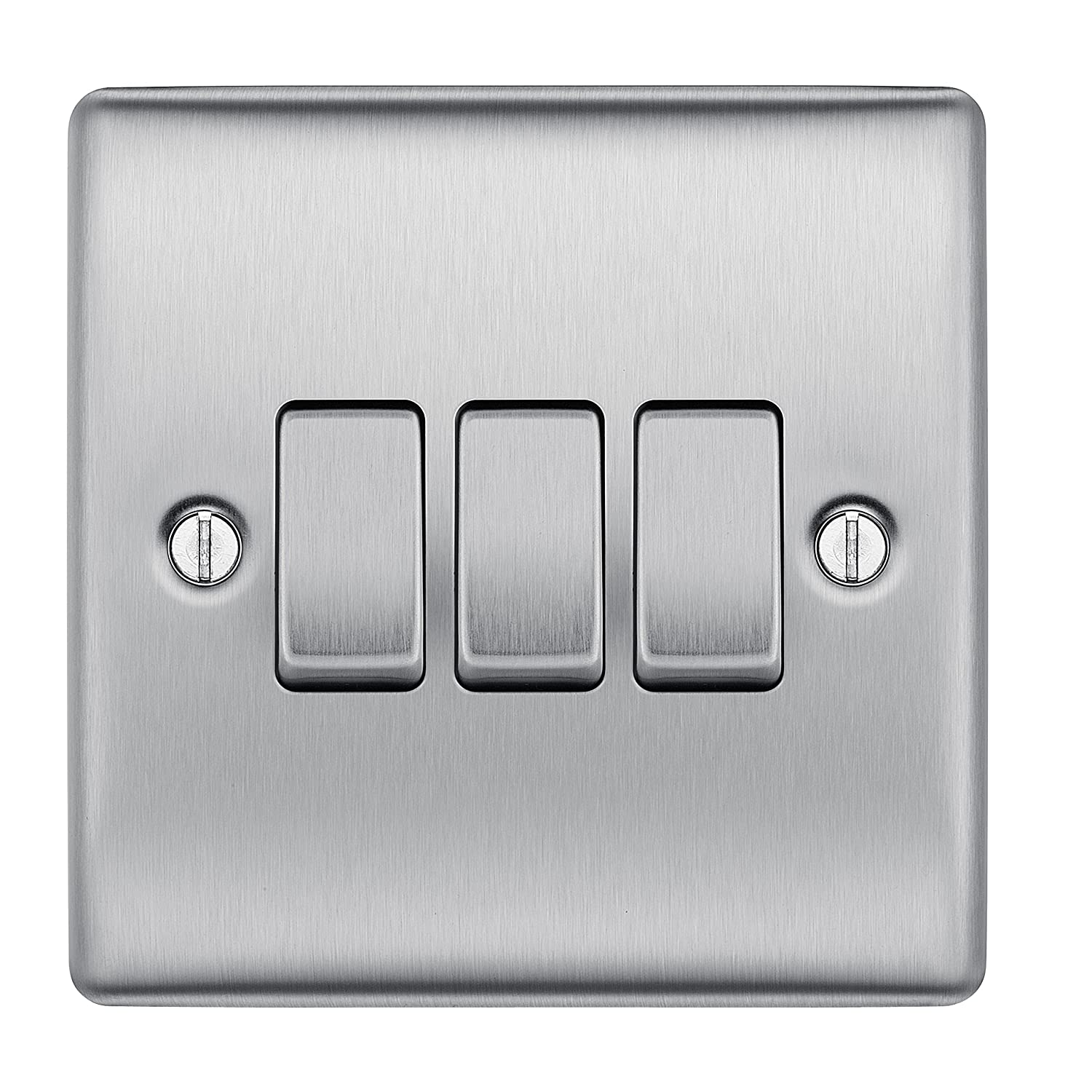 Bg Nbs43 10 A 3 Gang 2 Way Metal Brushed Steel Light Switch Amazon One Two Wiring Diagram In Addition Diy Tools