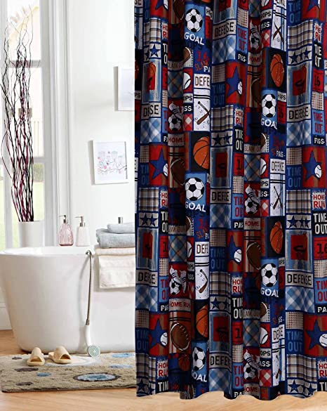 Amazon Unbranded Sports Patch Theme Fabric Shower Curtain Kids