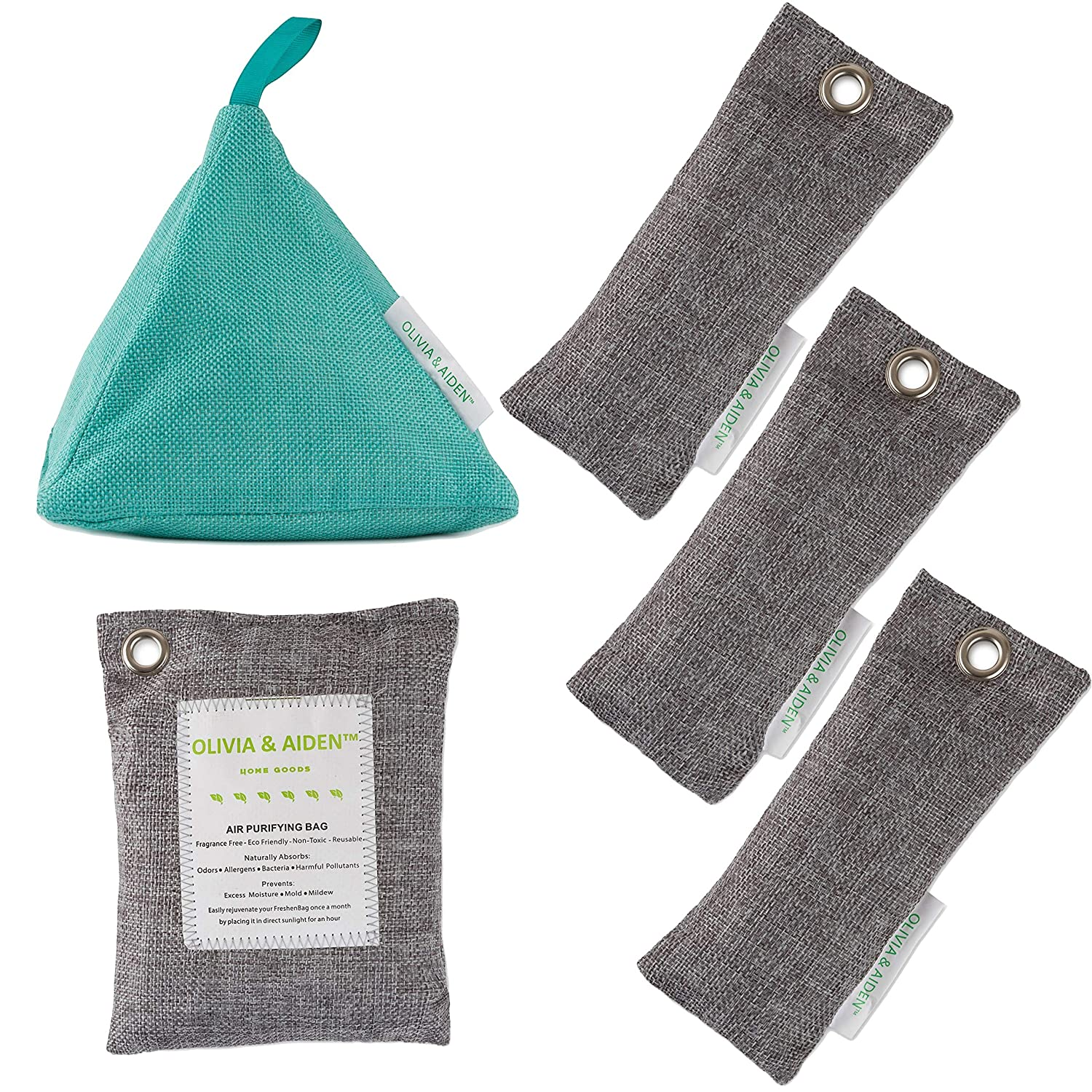OLIVIA & AIDEN 5 Pack- All Natural Air Freshener - Eco Friendly Odor Eliminator and Moisture Absorber Activated Bamboo Charcoal - Closet and Room Air Purifier  1 x 400g - 1 x 200g – 3 x 50g Platinum Sales Group