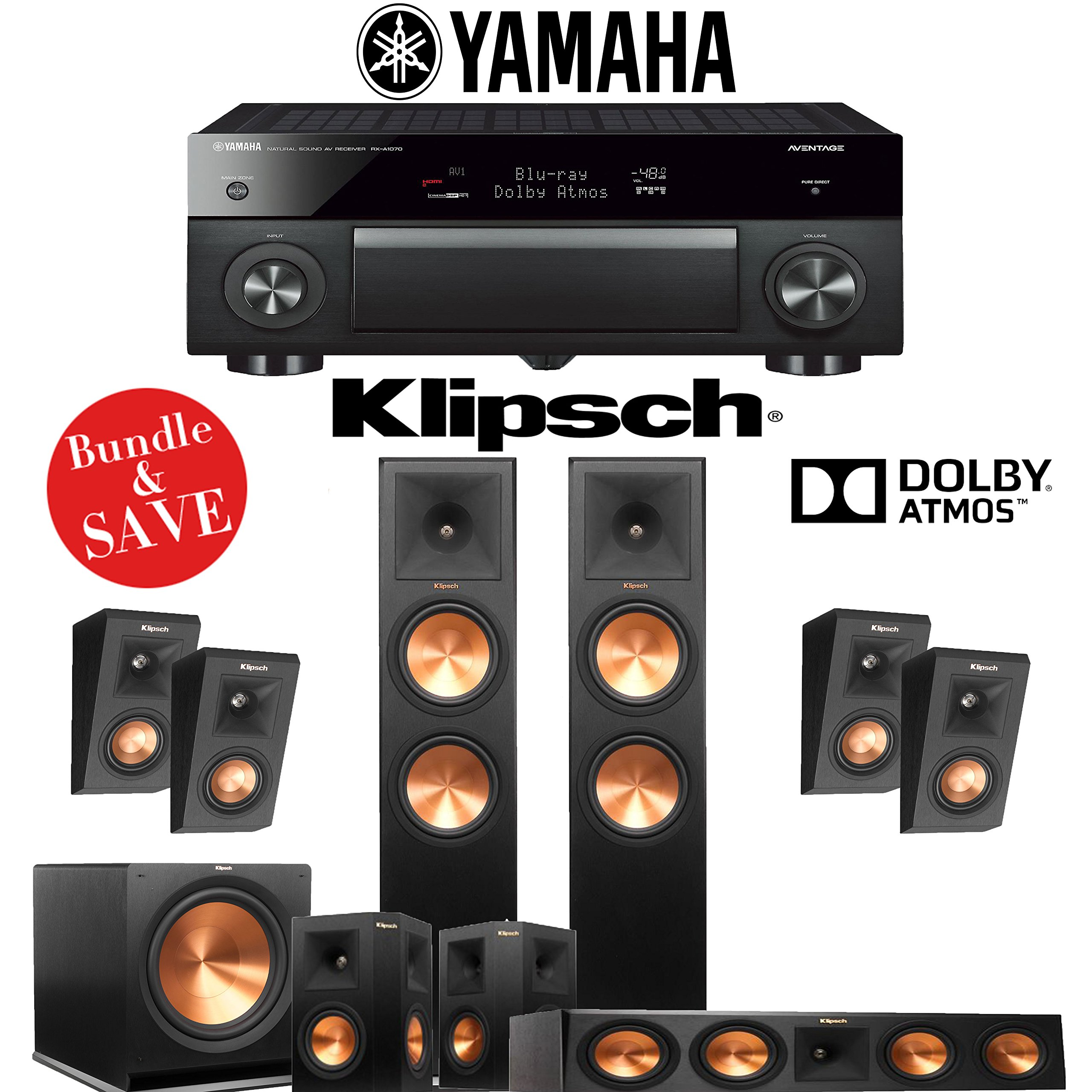 Klipsch RP-280F 5.1.4 Reference Premiere Dolby Atmos Home Theater System with Yamaha AVENTAGE RX-A1070BL 7.2-Channel Network AV Receiver by Klipsch