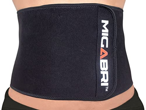 MIGABRI Waist Trimmer XT10 - High Quality Adjustable Slimming Belt Accelerates Weight Loss and Ab Toning - Lower Back & Lumbar Support For Men & Women - FREE Mini Microfibre Sweat Towel & Trimming Guide - Money Back Guarantee