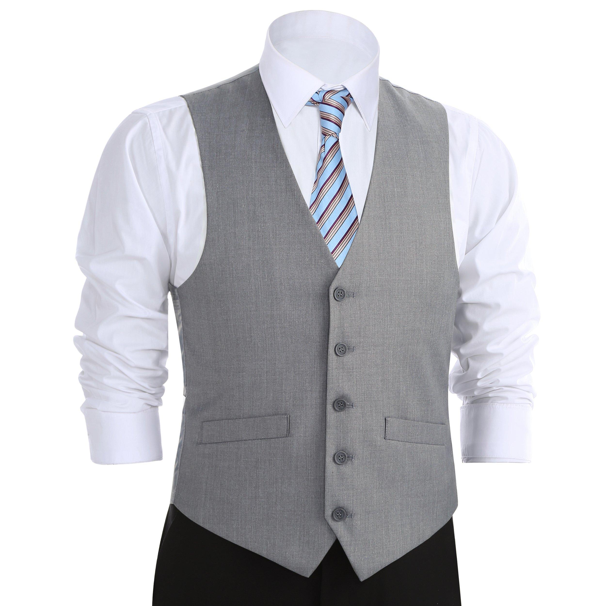 Chama Men's Formal Classic Fit Business Dress Suit Button Down Vest Waistcoat (50 Regular, Light Grey)