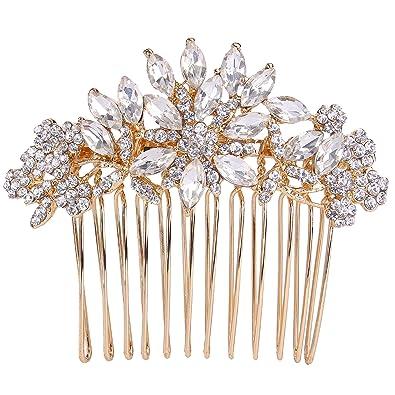 TENYE Women's Austrian Crystal Elegant Wedding Flower Leaf Hair Band Clear d6x58LAk