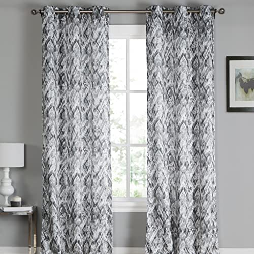 White Grey Paint Splatter Grommet Top Window Curtain Pair Panel Insulated Drapes For Bedroom, Livingroom, Kid, Children, Nursery – Assorted Color – 38 by 84 Inch, Set of 2 Panels