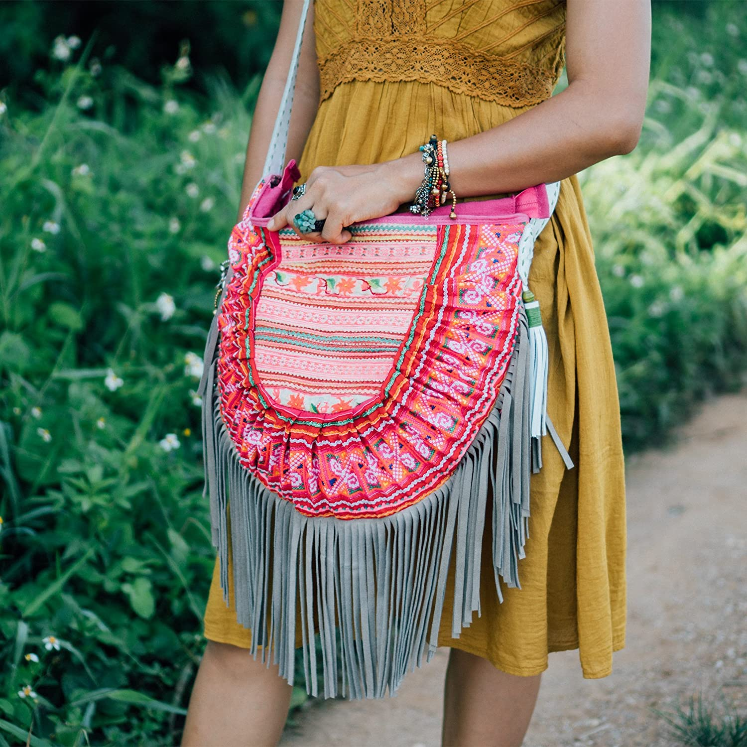 Amazon.com  Changnoi Bohemian Leather Fringed Purse with Vintage Hmong Hill  Tribe Embroidered for Womens in Pink from Thailand f18548fc9e879