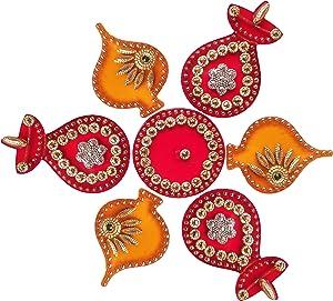 Diwali Acrylic Rangoli Floor Decorations Acrylic Yellow Modak Design with Studded Stones and Sequins, Traditional Festive Home Décor