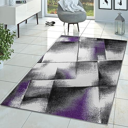 Designer Teppich Wohnzimmer Modern Kurzflor Teppich Meliert Lila ...