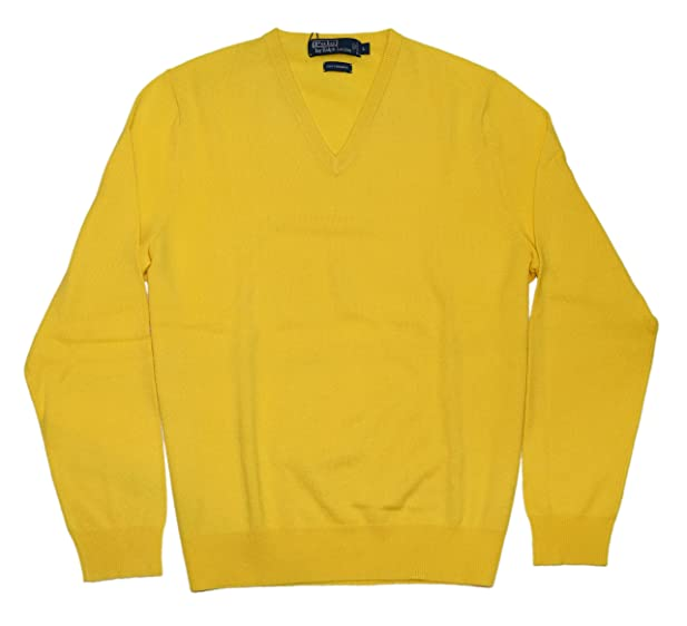 Polo Ralph Lauren Men 100% Cashmere V-Neck Pullover Sweater Canary ...