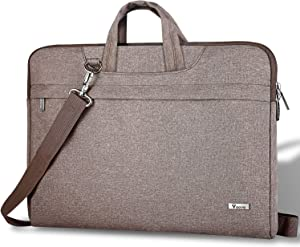 "Voova 14 15 15.6 Inch Laptop Sleeve Shoulder Bag, Slim Computer Carrying Case with Strap Compatible with MacBook Pro 15.4"" 16"" / Surface Book 2/Laptop 3 15"" Chromebook XPS Messenger Briefcase, Khaki"