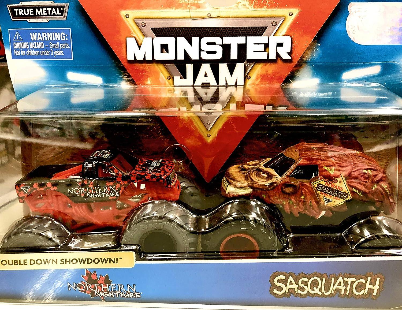 Monster Jam, Official Northern Nightmare Vs. Sasquatch Die-Cast Monster Trucks, 1: 64 Scale, 2 Pack