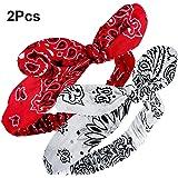 Bandana Knot Headbands Retro Print Headbands Paisley Print Headband Headwrap for Girls and Women (Style B, 2 Pieces)