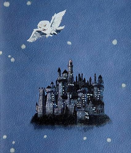 """Hogwarts Castle & Post Owls"" Denim Blue Harry Potter Wallpaper - - Amazon.com"