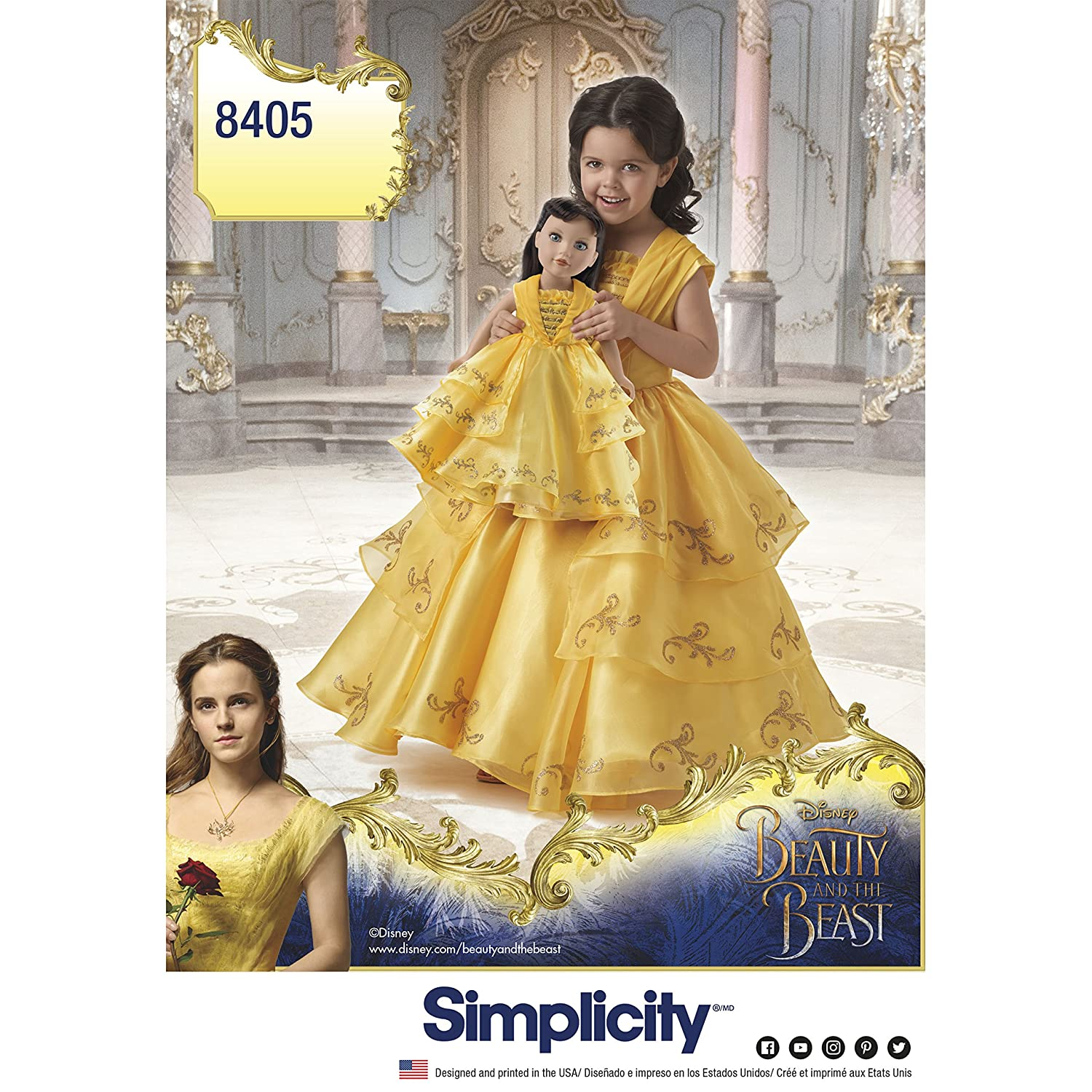 Simplicity 8405 Beauty and the Beast Costume for Child and 18 inch Doll (SIZE 3-8) SEWING PATTERN