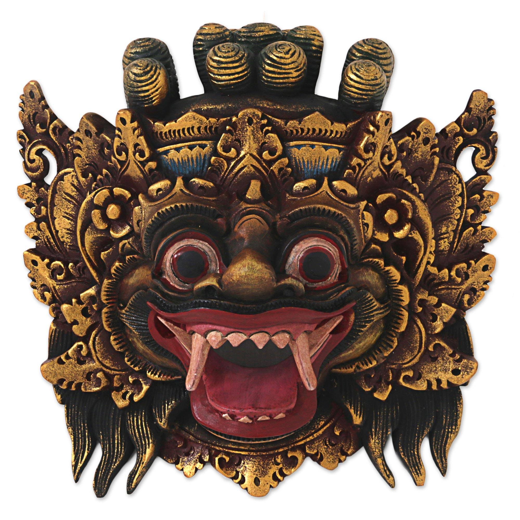 NOVICA Protection Wood Mask, Gold Tone 'Bali Barong'