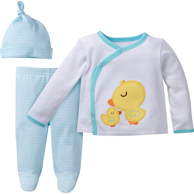 Gerber Unisex Baby 3-Piece Take Me Home Set Sleepwear, Neutral, 0-3M 22557318A NEU 03M