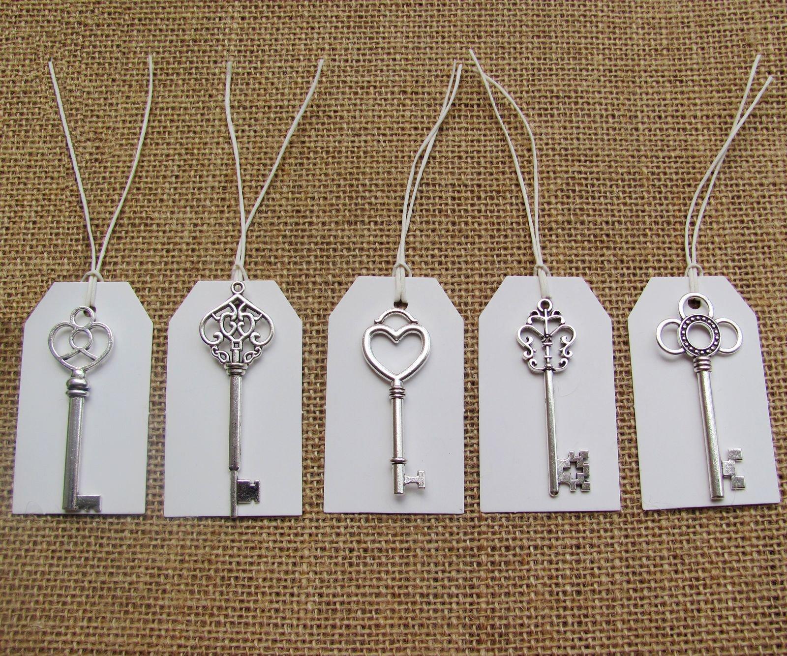 SL crafts Mixed 100pcs Antique Silver Skeleton Keys & 100 pcs White Tags Key Charms Pendants Wedding favor 53mm-68mm by SL crafts (Image #2)