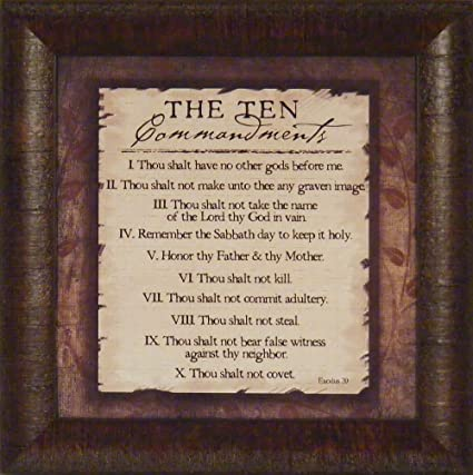 The Ten Commandments By Jennifer Pugh 15x15 Bible 10 Religious Framed Art  Print Wall Décor Picture