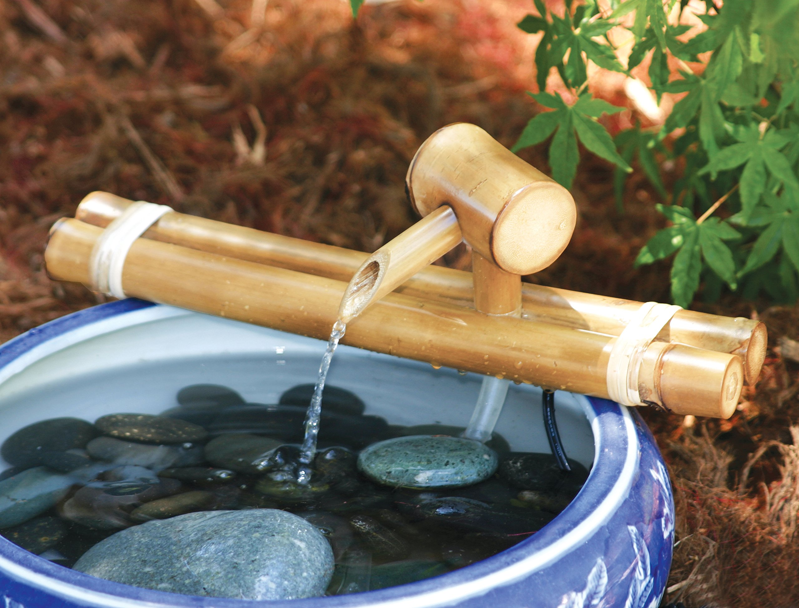 Bamboo Accents 12 Inch Classic Natural Bamboo Fountain and Pump Kit for Use with Any Container. Split Resistant, Handmade, Indoor Outdoor