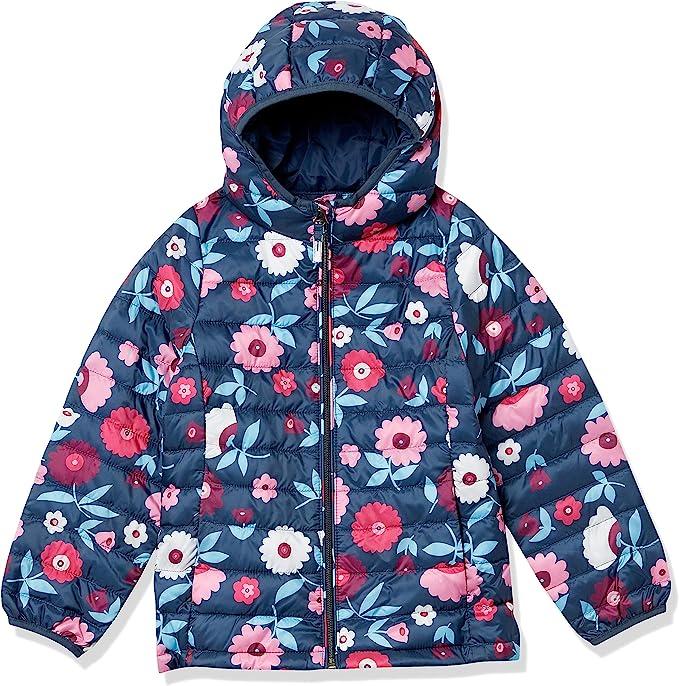 Essentials Girls Lightweight Water-Resistant Packable Hooded Puffer Jacket