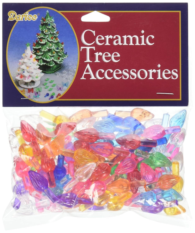 Darice Ceramic Christmas Tree Bulbs 625 Inch 100 Pkg Flame Multicolor
