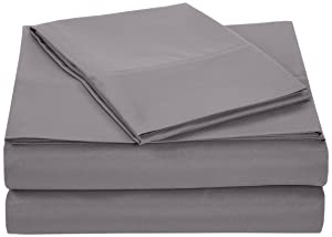 "AmazonBasics Lightweight Super Soft Easy Care Microfiber Sheet Set with 16"" Deep Pockets - Twin XL, Dark Grey, 4-Pack"