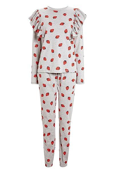 next Mujer Pijamas En Mezcla De Algodón con Volantes Y Fresas Gris Rojo L  Reg  Amazon.es  Ropa y accesorios ffebc197214c