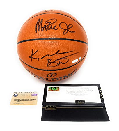 8114360572ca Image Unavailable. Image not available for. Color  Kobe Bryant Magic  Johnson Los Angeles Lakers Dual Signed ...