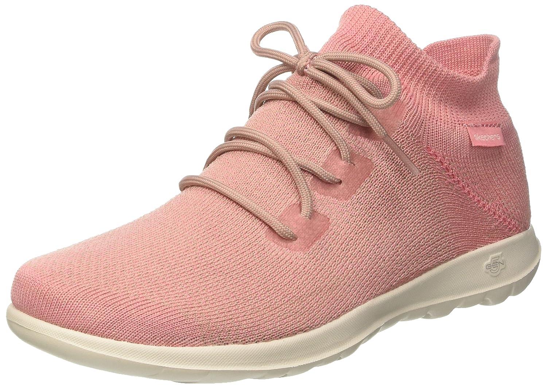 Pink Skechers Womens GO Walk Lite Lace-Up Sneakers