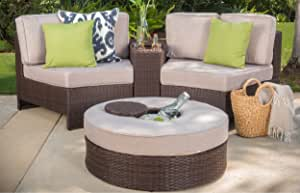 Christopher Knight Home Riviera Positano Outdoor Patio Furniture Wicker 4 Piece Semicircular Sectional Sofa Seating Set w/Waterproof Cushions, Beige with Ice Bucket Ottoman