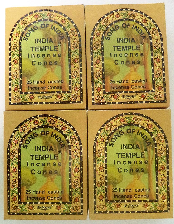 Song of India Templeコーンお香、4 x 25円錐パック、100 Cones合計 B0100MR9U6
